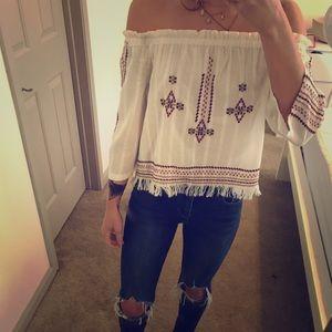 TopShop off the shoulder blouse